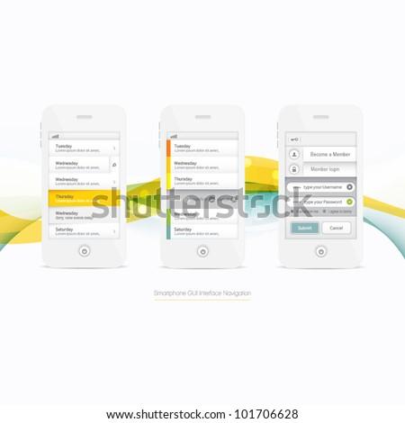 Smartphone Graphic GUI Navigation Menu Elements - stock vector