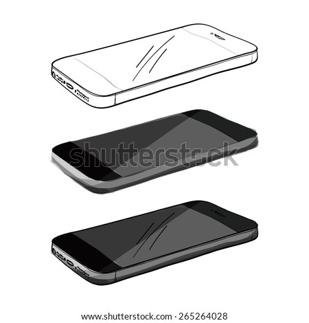 Smartphone Hand sketch on white background - stock vector