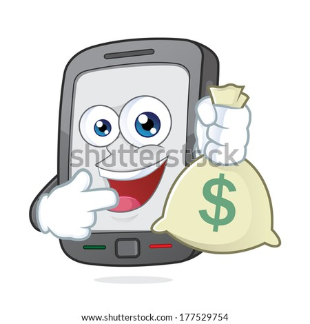 Smartphone holding a money bag - stock vector