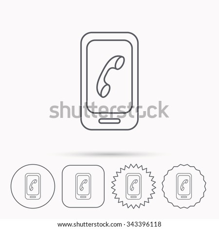 Smartphone icon. Cellphone with touchscreen sign. Linear circle, square and star buttons with icons. - stock vector