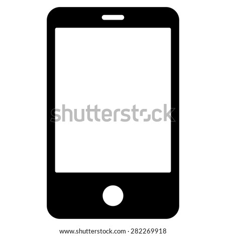 Smartphone icon from Basic Plain Icon Set. Style: flat vector image, black color, rounded angles, white background. - stock vector