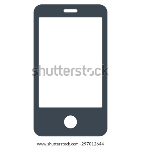 Smartphone icon from Primitive Set. This isolated flat symbol is drawn with smooth blue color on a white background, angles are rounded. - stock vector