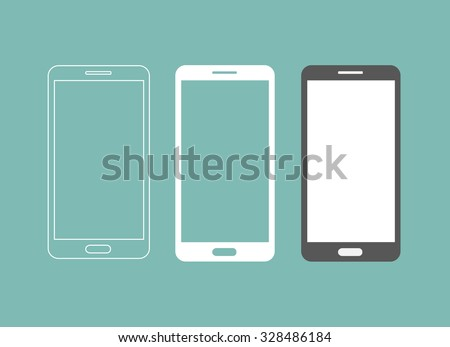 Smartphone icon in three different styles - stock vector