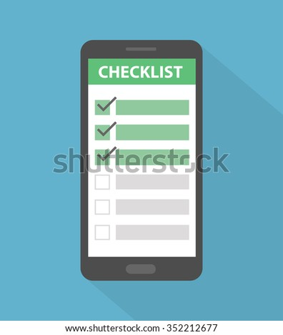 Smartphone icon with checklist on it. Flat style