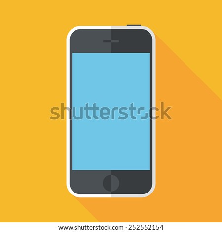 smartphone icon with long shadow. flat style vector illustration - stock vector