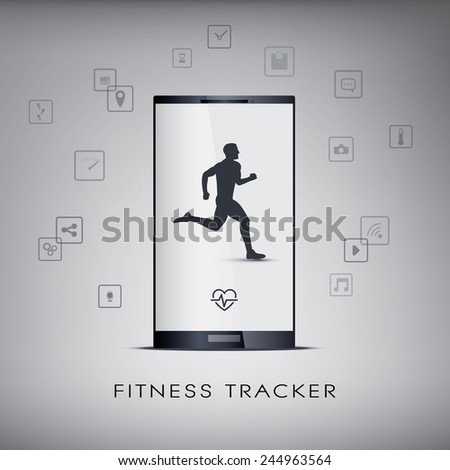 Smartphone icons for monitoring health and fitness with a running or jogging silhouette. Eps10 vector illustration. - stock vector