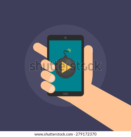 Smartphone in hand, dangerous content - isolated flat vector illustration. - stock vector