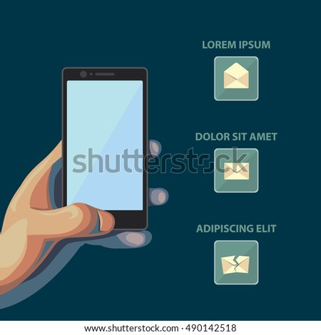 Smartphone in hand. Isolated flat style illustration with message icons on dark background.