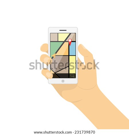 Smartphone in hand. Mobile gps navigation - stock vector