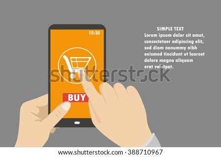 Smartphone in hand. mobile shopping button, flat design.Place for text. Vector