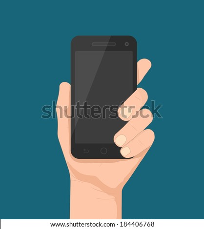 Smartphone in hand template for web and mobile applications (app), vector eps10 illustration - stock vector