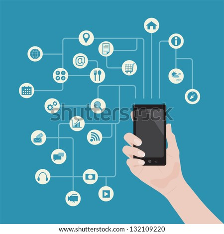 Smartphone in hand with applications background, vector - stock vector