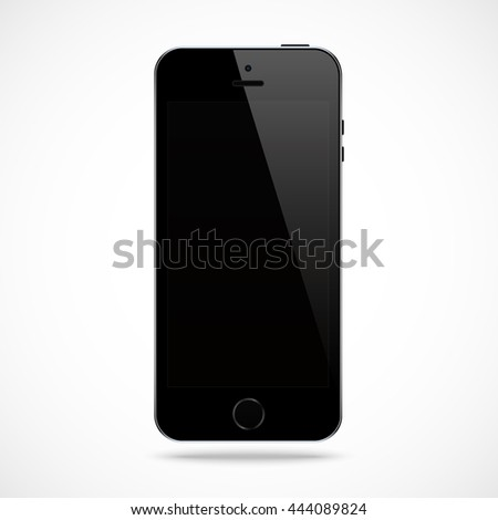 smartphone in iphone style black color with blank touch screen isolated on the grey background. stock vector illustration eps10