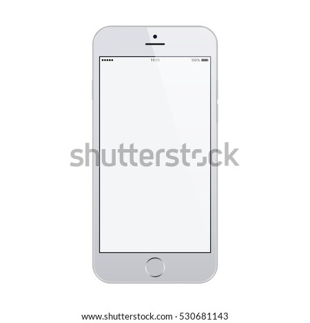 Smartphone In Iphone Style Grey Color With Blank Touch Screen Isolated On White Background Stock