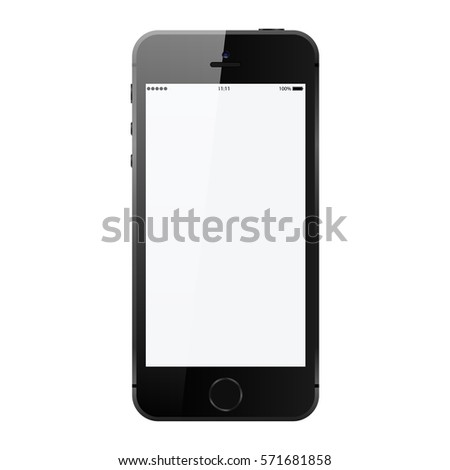 Smartphone in iphone style black color with blank touch screen isolated on white background vector illustration