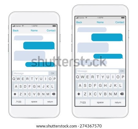 Smartphone in two sizes, chatting sms template bubbles. Place your own text to the message clouds. Compose dialogues using samples bubbles! Eps 10 format - stock vector