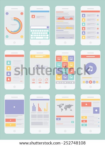 Smartphone Infographic  UI Flat Design Elements. Vector illustration  - stock vector