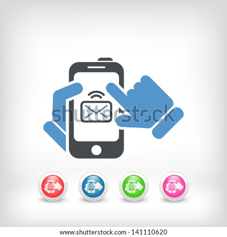 Smartphone mail icon - stock vector