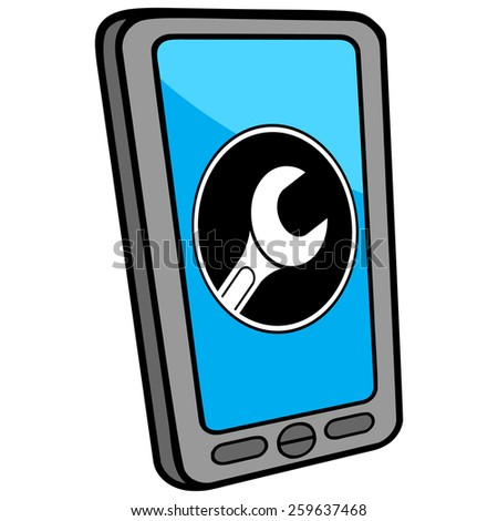 Smartphone Mechanic Locator - stock vector