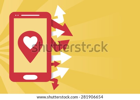 Smartphone mobile gps flat illustration with empty space for text