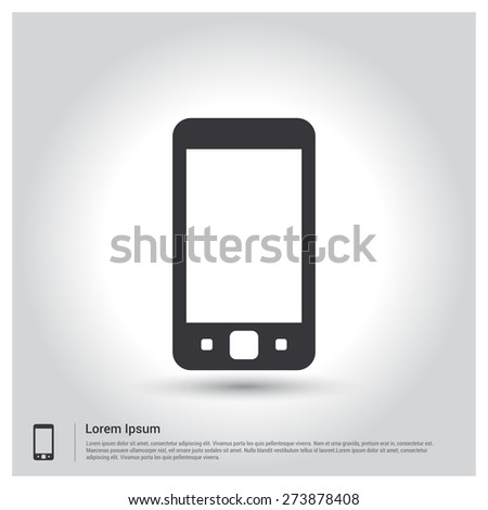 smartphone mobile icon, pictogram icon on gray background. Vector illustration for web site, mobile application. Simple flat metro design style. Outline Icon. Flat design style - stock vector