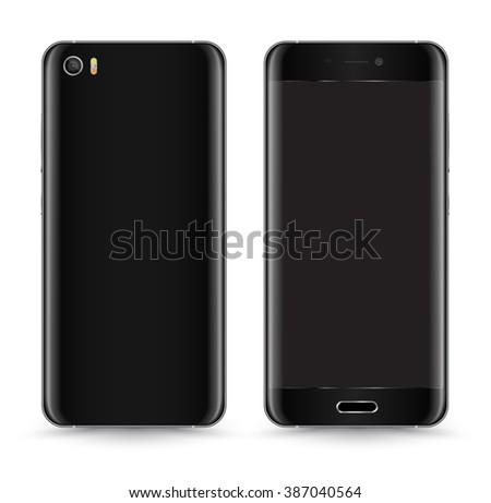 Smartphone Mockup Vector Front and Back. - stock vector