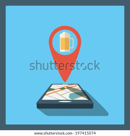 Smartphone navigation in modern flat design with a symbol of drinking, pub, club, bar. Eps10 vector illustration - stock vector