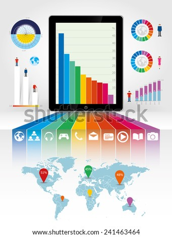 Smartphone of tablet pc using infographics in bright rainbow colors - stock vector