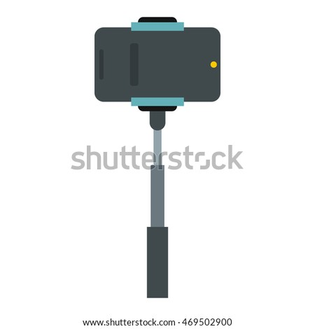 Smartphone on a selfie stick icon in flat style on a white background