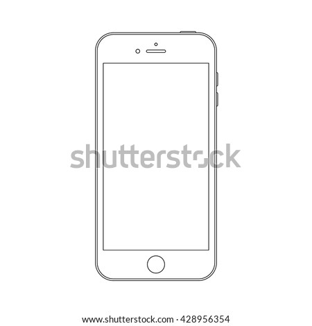 smartphone outline icon in iphone style on the white background. stock vector illustration eps10 - stock vector