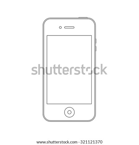smartphone outline icon symbol in iphone style on the white background. stock vector illustration eps10 - stock vector