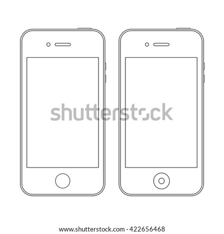 smartphone outline icons in iphone style on the white background. stock vector illustration eps10 - stock vector