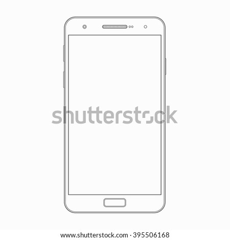 Smartphone outline template. Vector wireframe contour of modern smart phone, mobile phone, cellphone isolated on white background. Blank screen. Mobile device, gadget icon, symbol, sign - stock vector