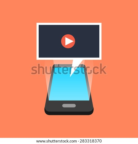 Smartphone playing video concept. Isometric design. Vector illustration - stock vector