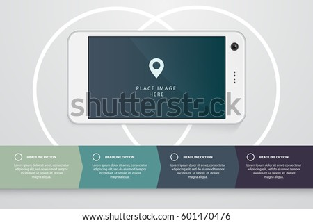 smartphone realistic illustration flat infographics elements stock, Presentation templates