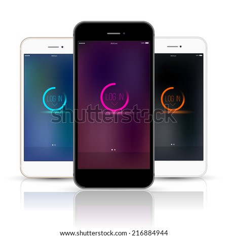 Smartphone realistic vector mockup three colour set. Model Isolated. Can use for frame or background printing and website. - stock vector