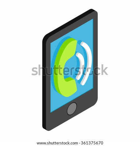 Smartphone rings 3d isometric icon isolated on a white background - stock vector