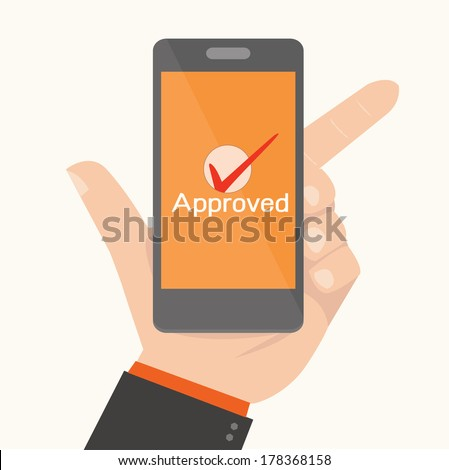 Smartphone Showing Approval,Online payments concept - stock vector