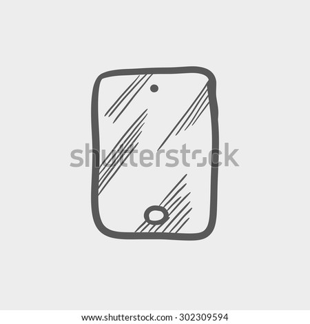 Smartphone sketch icon for web and mobile. Hand drawn vector dark grey icon on light grey background. - stock vector