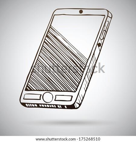 Smartphone sketch. Vector illustration - stock vector
