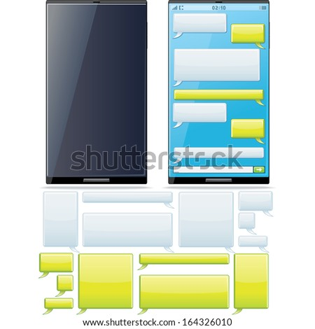 Smartphone SMS Chat Template. Phone Display with Set of Vector Speech Bubbles for Your Text. - stock vector