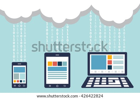 smartphone , tablet and laptop were connected to cloud server ( transfer data )( binary number system ( 1 - 0 ))( technology and modern device concept )( flat design )