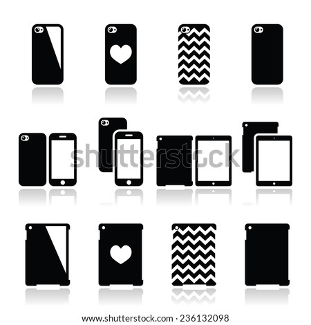 Smartphone, tablet case icons set - stock vector