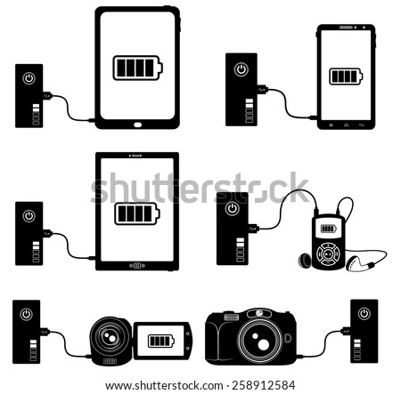 Smartphone, tablet, e-book, player, camera and camcorder charged by an external battery (power bank)