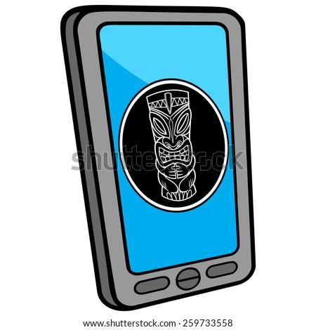 Smartphone Tiki Bar Locator - stock vector