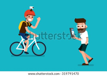 Smartphone user and sportman. - stock vector