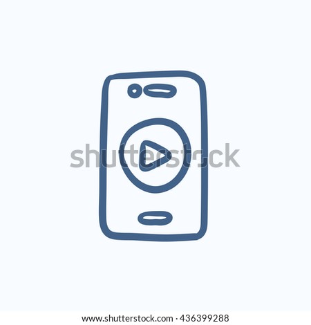 Smartphone vector sketch icon isolated on background. Hand drawn Smartphone icon. Smartphone sketch icon for infographic, website or app. - stock vector