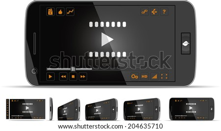 Smartphone Video Player - Vector illustration - multiple views of a smart phone with video player interface. Media player with full interface included. File type: vector EPS AI8 compatible.  - stock vector