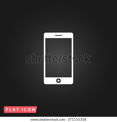 Smartphone. White flat simple vector icon on black background. Icon JPEG JPG. Icon Picture Image. Icon Graphic Art. Icon EPS AI. Icon Drawing Object. Icon Path UI - stock vector