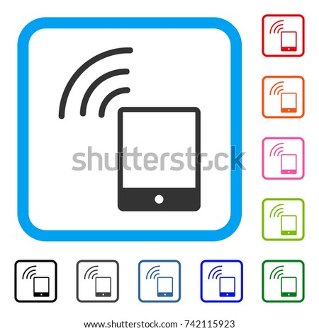 smartphone wi fi signal icon flat grey iconic symbol inside a light blue rounded - Wifi Frame